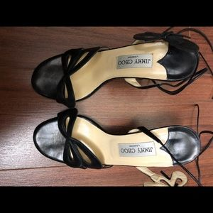 Authentic Jimmy Choo Black Leather Sandals 37.5